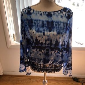 Blue and white tie dye shirt